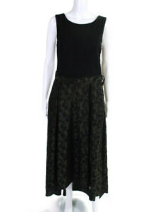 Hutch Womens Floral Leaf High Low Scoop Neck Gown Green Size 4 10861004