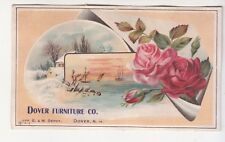 Dover Furniture Co Artistic New Hampshire Roses Snow B&M Depot Vict Card  c1880s