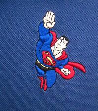 SUPERMAN embroidery flying USA youth XL polo shirt DC Comics classic kids 2001