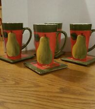 Latte MUGS AND COASTERS by certified international corporation - Set of 4