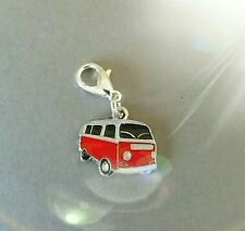 VW RED CAMPER VAN CLIP ON CHARM