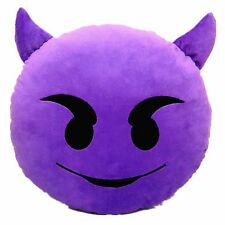 "USA SELLER Emoji Pillow 12"" Inch 30cm Demon Purple Emoticon(Devil)Smiley Yellow"
