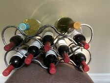 Pewter Metal Finish Wine Rack Modern Design.