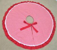 "Handmade Christmas Tree Skirt Red White 46.5"" Plaid Gingham Ribbon Tie Lace Edge"