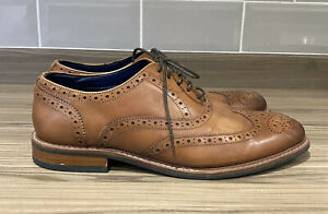 Mens Dune POLLODIUM Shoes Brown Tan Oxford Brogues Size 9 Wide Fit Formal Lace