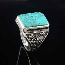 925 Sterling Silver Ring Green Turquoise Gemstone, Handmade Cushion Men's Ring