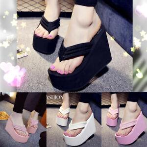 Women Wedge Platform High Heel Flip Flops Slippers Shoes Antiskid Beach Sandals