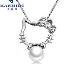 Sterling Silver Crystal Kitty Freshwater Pearl Pendant Chain Necklace Box H13