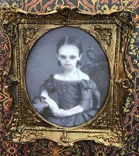 Dollhouse Miniature 1:12 Haunted Portrait - Vampire Girl OOAK Halloween,