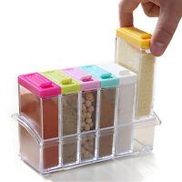 6 pcs Sealed Cruet Set Salt Pepper Condiment Seasoning Box Storage Box Hotsale