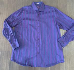 Bugatchi Men's Long Sleeve Button Up Casual Shirt Purple/ Blue Shaped Fit 3XL