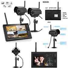 "Wireless 4CH DVR 2 Cameras 7"" LCD Monitor CCTV Video Home Security Camera System"
