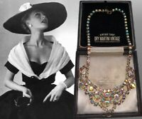 VINTAGE 1950s AURORA BOREALIS RHINESTONE CRYSTAL NECKLACE BRIDAL BEAUTIFUL GIFT
