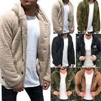 Mens Hooded Coat Jacket Fluffy Teddy Bear Winter Warm Tops Casual Hoodie Outwear