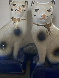 Pair Of Staffordshire Style Ceramic Cats