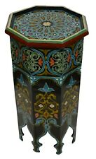 Moroccan Wood Side End Table Corner Coffee Handmade Hand Painted Moorish Black