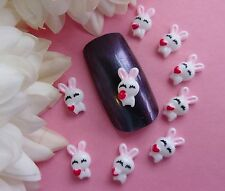 "10 pcs x ""Tiny Easter White Bunny Rabbit Red Heart"" 3D Nail Art Kawaii Craft"