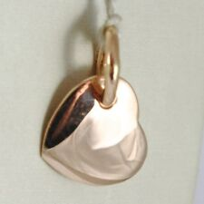 18K ROSE GOLD HEART ENGRAVABLE CHARM PENDANT 11 MM FLAT SMOOTH MADE IN ITALY