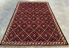 Authentic Hand Knotted Afghan Taimani Balouch Wool Area Rug 4 x 3 Ft (479 HMN)