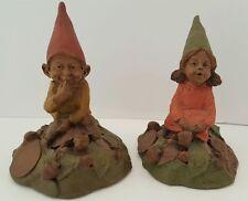 Tom Clark Lot of 2 Gnome Eddie & Lilibet Vintage Figurine Statue Retired