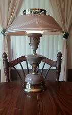 Vintage Metal & Brass Stenciled Tole Ware Lamp w/ White Corning Shade Diffuser