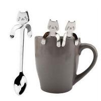 Novelty Stainless Steel Cartoon Cat Tea Coffee Spoon Ice Cream Cutlery Tableware