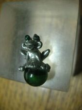 Frog Pendant G C I Pewter w/ Green Ball & Green Eyes No. 8090 Signed