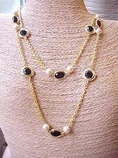 Vintage Crystal Lentil-Bead Necklace-Black Swarovski Element Gold Plate Chain