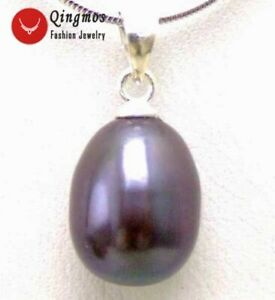"Natural 7-9mm Drop Black Pearl Pendant Necklace for Women Jewelry 16"" Chain 5300"