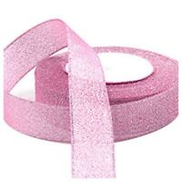 22 Metres 25mm Double Sided Satin Glitter Ribbons Bling Bows Reels Wedding B7T4