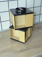Vintage 70s. Beige Carousel Audio Cassette Double Holder Modern Home Decor