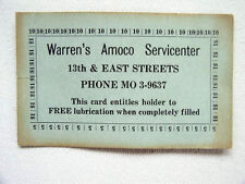 Old Frederick Md Warren`s Amoco Servicenter 13th & East St Free Lubrication Card