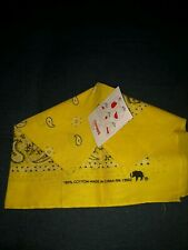 Vtg Yellow Bandana Hankie Elephant Trunk Up 100% cotton China lemon zest New Nwt