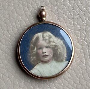 Antique Portrait Pendant Gold 9ct 9 Carat Picture Photo Tinted Prints 1920s Old
