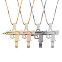 Unisex Men Gold Machine Gun Pendant Necklace Long Chain Fashion Party Jewelry sk