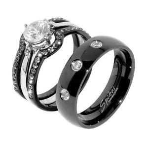 4 PCS Women Black Stainless Steel CZ Wedding Ring Set/Men 3 CZs Matching Band