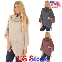 Women Poncho Shawl Scarf Cape Top Knit Top Sweater Jacket Coat Knitted Cardigan
