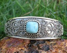 Traditional Bali Bangle Sbb-581 Sterling Silver and Larimar
