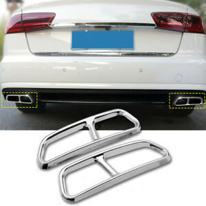 Stainless Steel Rear Exhaust Muffler End Pipe Cover Trim For Audi A6 C7   !F