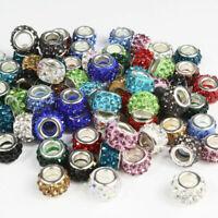 Czech Crystal Rhinestone Silver Big Hole Spacer European Charm Beads Jewelry
