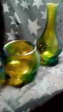 Hand Painted Glass Vase And Tealight Set in Greens Yellow And Blue Swirl Design