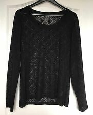 "NEW ""Planet"" Women's Top, Size Large, Black, Transparent, Long Sleeves"