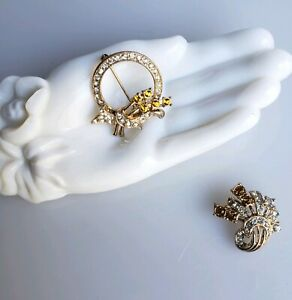 2 Vintage amber rhinestone brooches wreath and spray shapes vintage 1950s