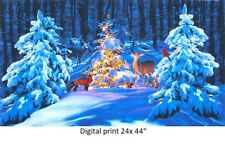 Woodland Glow Digital Christmas Panel cotton quilt fabric Kaufman Animals 17
