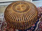 VTG MCM Franco Albini Large Round Woven Rattan Ottoman Table