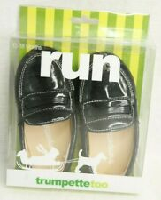 NEW Trumpette Too Black Loafers Baby Shoes 12-18 Months Faux Leather Moccasins