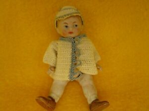 "4"" Tall Bisque Boy Doll Germany marked 1 1/2 Wire Jointed Painted Face"