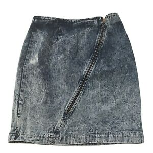 "Vintage 80s 90s Acid Wash Denim Skirt Zipper Blue Jean 100% Cotton 27""W Made USA"