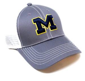 GREY GHOST UNIVERSITY OF MICHIGAN WOLVERINES LOGO MESH TRUCKER SNAPBACK HAT CAP