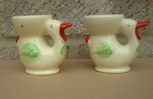 1960s VINTAGE TWO OLD EGG CUPS KEELE ST POTTERY ENGLAND BIRDS DUCKS TWO ITEMS